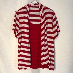 Kim Rogers Plus Size 2X Top Red White Striped 550